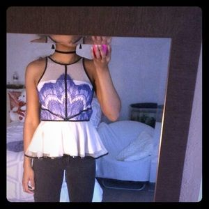Tops - Blue lace and cream mesh peplum top